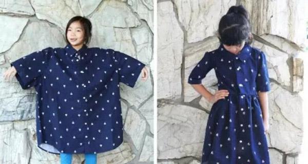 旧衣服改造成可爱的收腰连衣裙,小女儿福利!