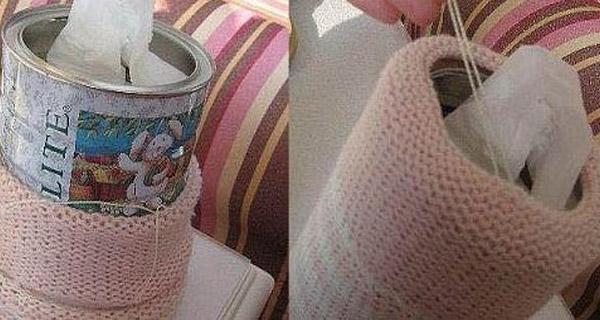 旧衣服打改造-自制手工纸巾桶
